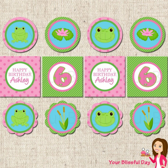 PRINTABLE Girl Frog Party Circles (Personalized) #530