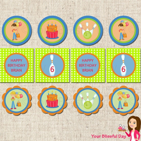 PRINTABLE Boy Bowling Party Circles (Personalized) #509