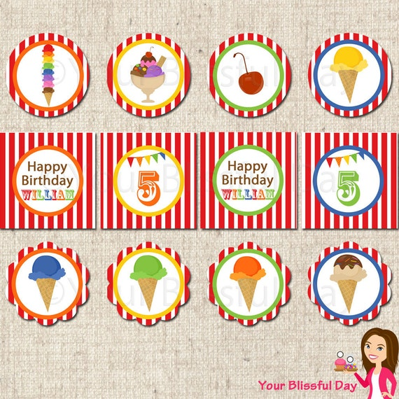 PRINTABLE Ice Cream Party Circles (Personalized) #575