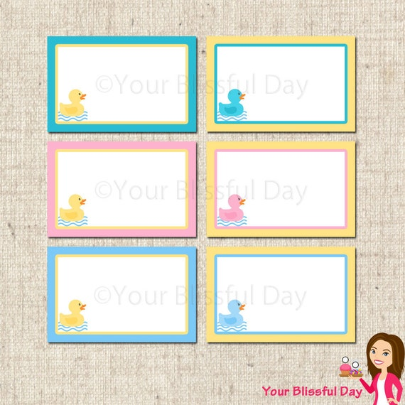 printable rubber duckie baby shower label tents by yourblissfulday