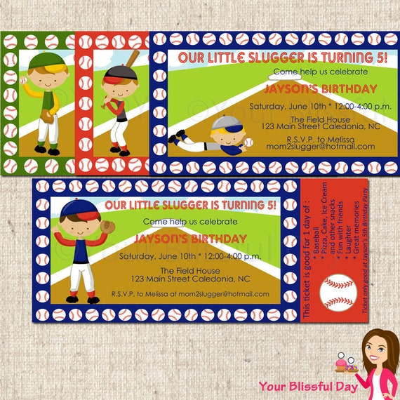 PRINTABLE Boy Baseball Party Ticket Invitations (Character of your choice) #510