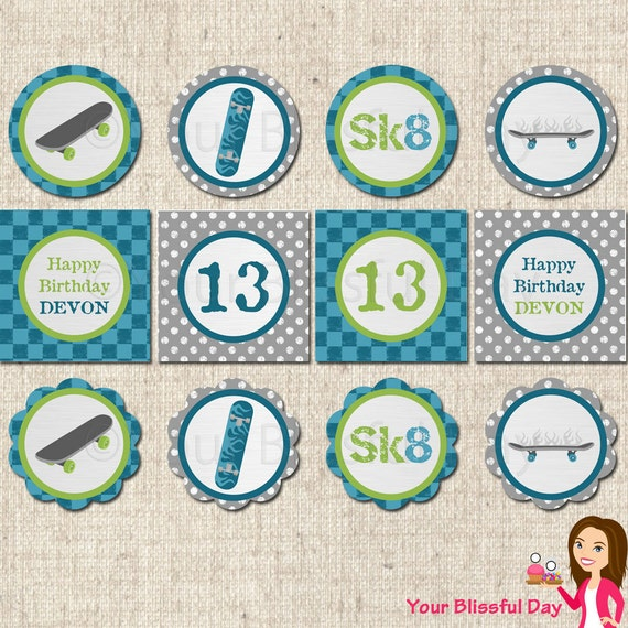 PRINTABLE Personalized Skateboard Party Circles #583