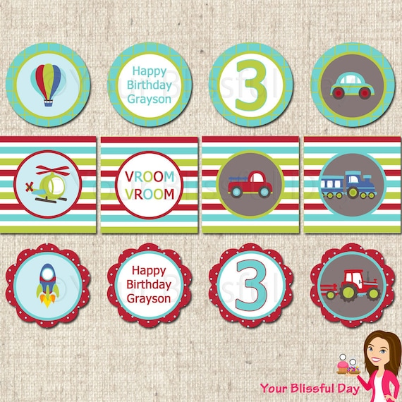 PRINTABLE Transportation Party Circles (Personalized) #596
