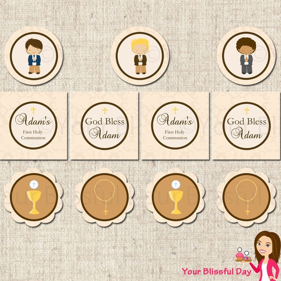 PRINTABLE Personalized First Communion Boy Party Circles (Character of your choice) #602