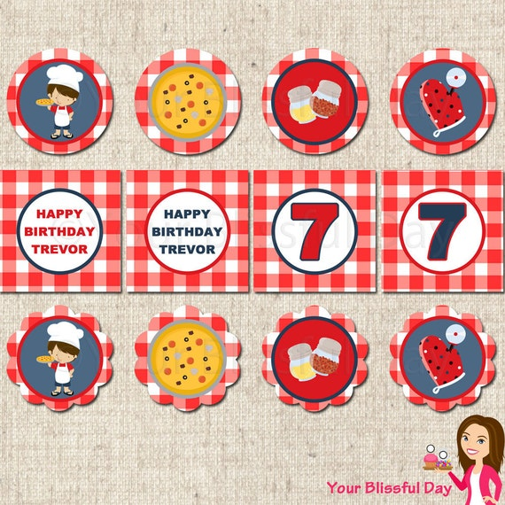 PRINTABLE Boy Pizza Party Circles (Personalized) #570