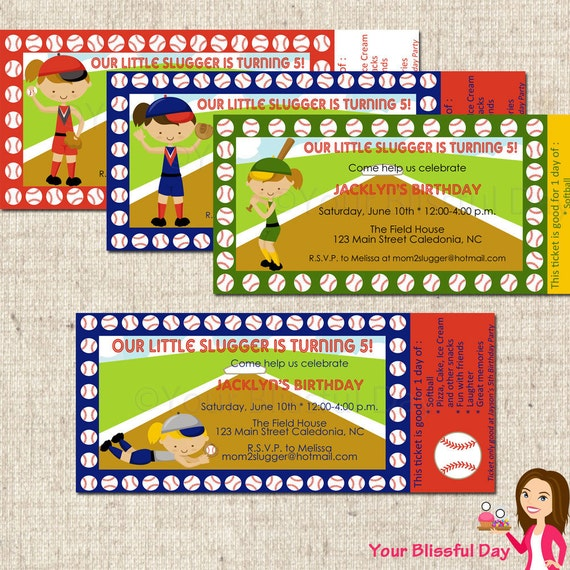 PRINTABLE Girl Softball Party Ticket Invitations (Character of your choice) #536