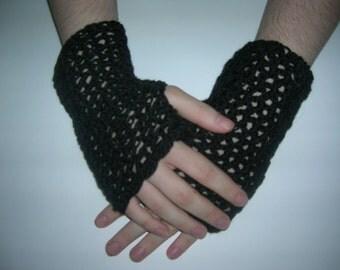 Fingerless Gloves, Lacy Gloves, Black Lacy Gloves, Black Lace Gloves, Black Gloves, Crochet Gloves, Handmade Gloves