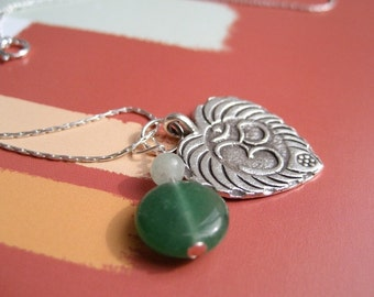 Om Shanti Sacred Symbol Charm Necklace in Silver with Semi Precious Stones on Sterling Silver Chain