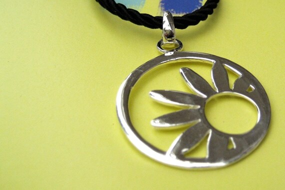 Sun in Circular Pendant - Sterling Silver Necklace with Cotton Cord & Sterling Silver Clasp