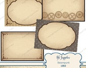 Steampunk Printable Labels / Gift Tags - grey and sepia tones cogs, frames, clock hands - Digital Instant Download L002