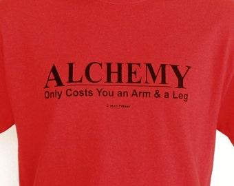 Fullmetal Alchemist Anime T-Shirt (Alchemy: Only Costs and Arm & a Leg Demotivator) Red