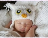 Crochet Fuzzy White Owl Hat (Newborn)