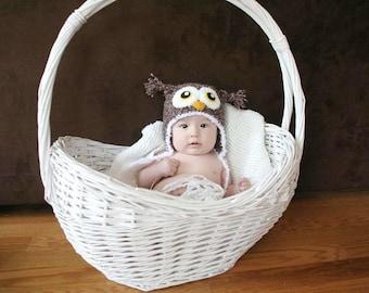Cute Crochet Fuzzy Owl Hat (12m-2T size) - CLEARANCE
