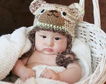 Crochet Milti-color Cool Bear Hat (3m - 6m)