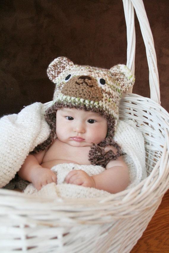 Crochet Milti-color Cool Bear Hat (3m - 6m)