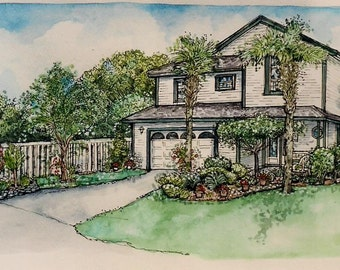 HOUSE PORTRAITS Custom original Watercolor painting of your Home or Building, pen and ink architectural drawings, personalized art gift