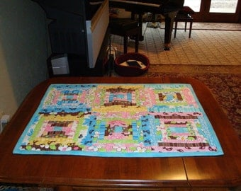 Spring Flowers Quilted Table Runner or doll quilt, hand quilted table runner, table runner in spring colors,