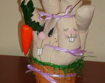 Unique Easter Gift for a Gardener Friend -Terra Cotta Pot and Bunny, gardening pot, rabbit gardening pot,