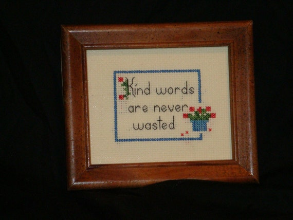 Counted Cross Stitch Kind Words, Love, Friendship, Home Decor
