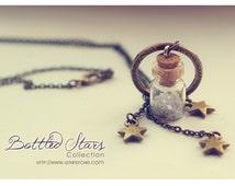 Stars Tiny Bottle necklace. Glass bottle pendant. Cute Necklace bronze, miniature bottle charm necklace CUSTOM Glitter STARS COLOR.