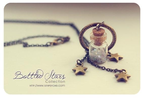 Stars Tiny Bottle necklace. Glass bottle pendant. Cute Necklace. Bronze necklace. miniature bottle glass vial  CUSTOM Glitter STARS COLOR.