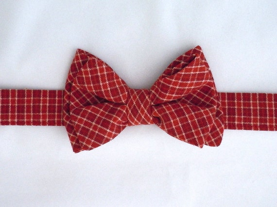 Dark Cherry Plaid Bow Tie Size XS for Small Dog or Cat