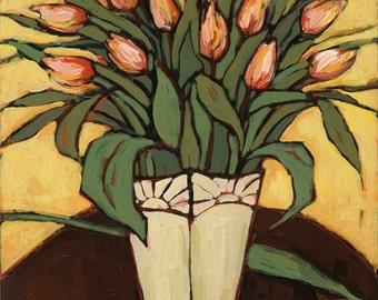 Pink Tulips Still life/tulip art print/pink tulips print/tulips in vase art/floral art/floral still life/fine art/giclee/20x16