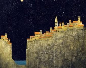 Vernazza Italy print/cinque terra art/ print/italian landscape print/Italy fine art/moon/stars/midnight/giclee print