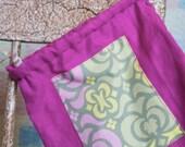 Sacred Patchwork Purple Linen Drawstring Oracle Card Gemstone Bag