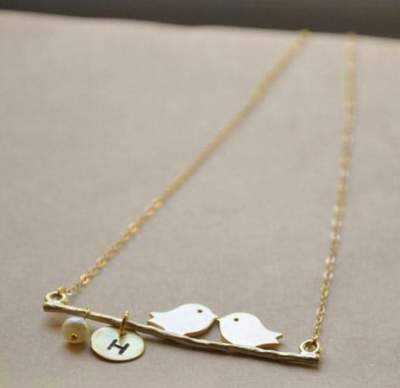 Personalized 14K Gold Filled Kissing Lovebirds Necklace- Nature Inspired Wedding, Great Customized Bridesmaids Gifts, Mother-Daughter