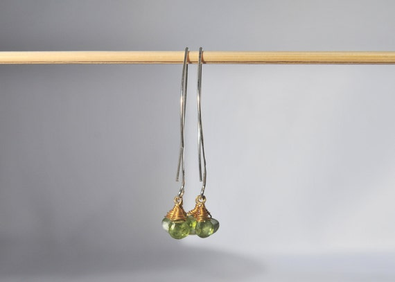 Petite Peridot Briolette Vermeil Wire Wrapped Earrings