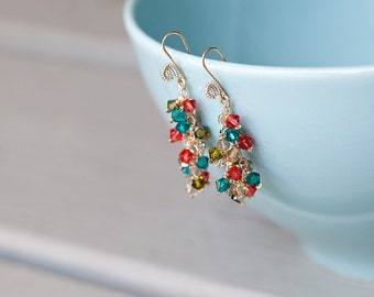 Multicolor Butterfly earrings--labradorite, swarovski crystal, 14k gold, sterling silver