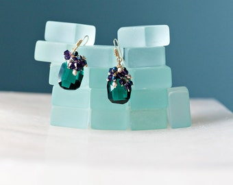 Emerald Isles - emerald crystal earrings, 14k gold, purple dangles
