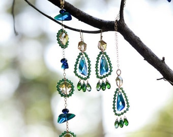 Peacock necklace - blue and green crystal, 14k gold chain