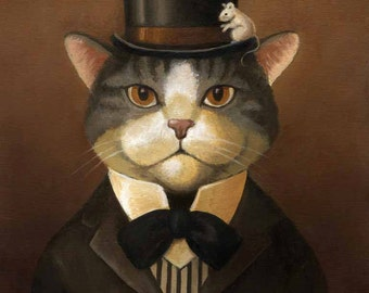 Victorian Cat Portrait Print - Cat Dandy - Gothic Cat- Cat Art - Cat in Top Hat