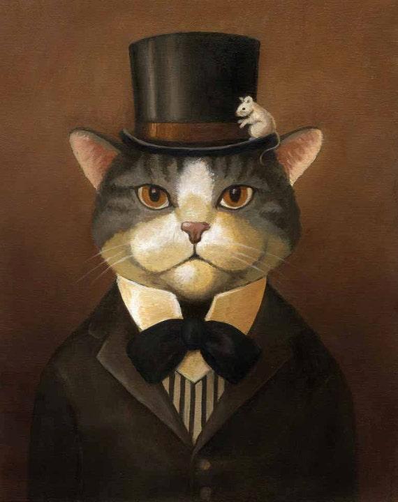 Cat Dandy Portrait - Victorian Cat Gentleman