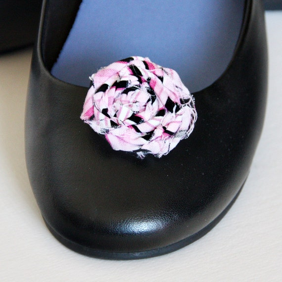 Rolled Fabric Rosette Shoe Clips in Pink, Black & White