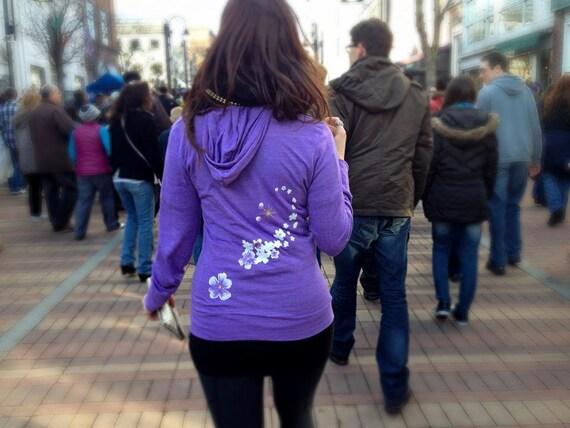 "Organic ""I am INSPIRED"" Purple Beach Hoodie - size XS - 50% Off!"