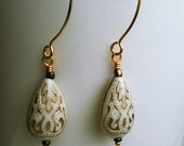 50% OFF SALE! Gold Filigree Earrings. Vintage Ivory pressed lucite earrings. Limited Edition. Gold ear wires and glass detailing.