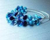 40% OFF SALE! Blue Earrings. Silver Earrings. Glass Hoops. Silver Jewelry. Atlantis Rain Earrings. Silver hoops with blue teardrop beads.