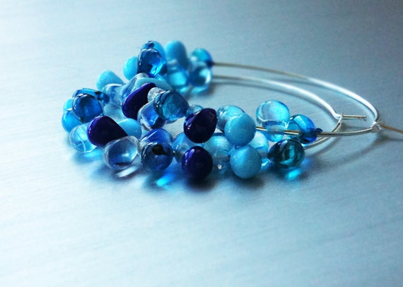 40% OFF SALE! Blue Earrings. Silver Earrings. Glass Hoops. Silver Jewelry. Atlantis Rain Earrings. Silver hoops with blue teardrop beads.