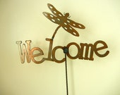 Welcome with a Dragon Fly, Metal Garden Stake