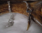 genuine snapping turtle claw and silver charm necklace