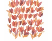 Original painting watercolor painting Open Up orange peach coral pink flowers Rose petals floral painting