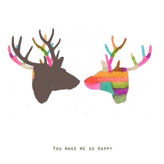 20% Off CIJ Sale You make me so happy fine art archival print two deer CIJ