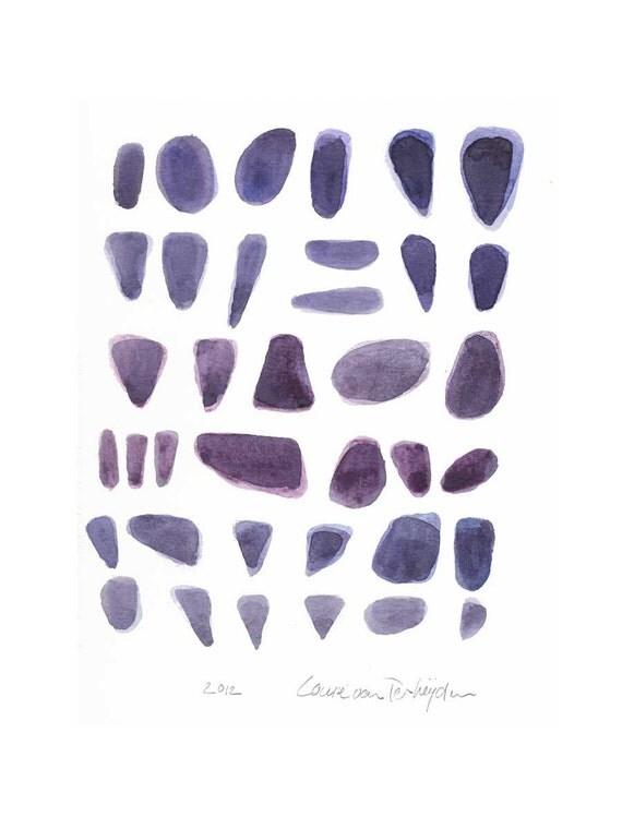 Watercolor painting Modern home decor Meditation piece  Abstract watercolor painting  Rocks titanium purple Original ooak watercolor