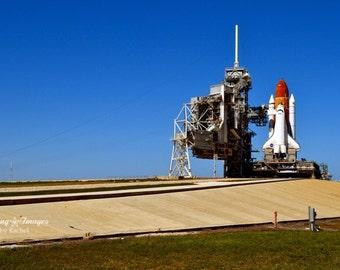 NASA Shuttle Endeavour, Launch Pad Wall Art, Atlantis, Kennedy Space Center, Space Shuttle, Space Wall Art, NASA Decor Blue White, NASA