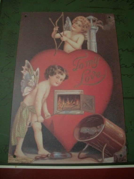 Valentine, Metal Sign, Cupid Fairy & Angel, Fairy sign, Cupid Sign, by Nanas Vintage Shop on Etsy