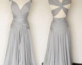 Convertible Infinity Dress, Floor length wrap dress in Stone Grey