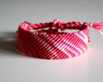 Raspberry Mango Swirl friendship bracelet